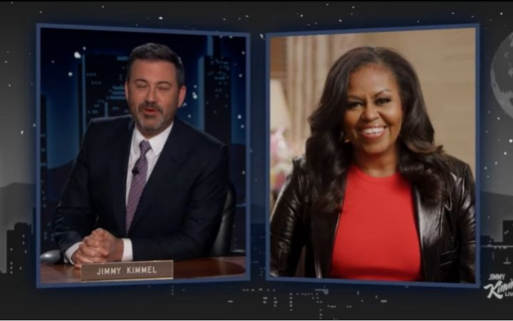'For some sick reason, you're very obsessed' says Michelle Obama as she shuts down Jimmy Kimmel's probing question on her sex life